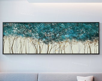 Abstract tree Paintings on canvas art Framed painting Gold art wall decor acrylic teal blue wall art and green extra Large painting