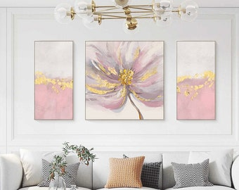 Framed painting Gold pink Abstract Acrylic floral Painting set of 3 wall art flower Original paintings on canvas 3 pieces wall art pictures