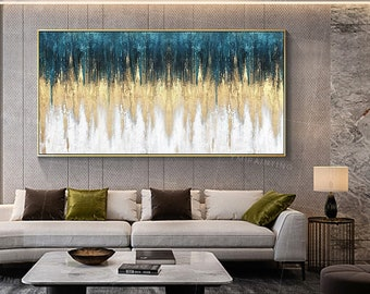 Framed wall art acrylic teal art abstract Paintings on canvas Original art gold and blue wall art Extra large wall art texture painting