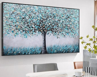 Large Original Painting On Canvas,Tree Painting,Framed wall art,Forest Art, large Wall Art,teal blue painting,Heavy Textured,Living Room Art