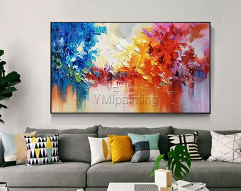 Framed wall art Abstract painting acrylic Navy Blue and red palette knife paintings on canvas original art extra large wall pictures