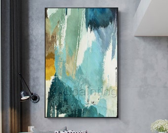 Abstract painting Teal Painting acrylic green and blue paintings on canvas Wall Pictures extra large framed wall art original painting