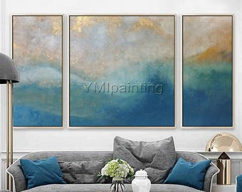 3 pieces wall art cuadros abstractos Sea Waves Canvas Art Abstract Acrylic Painting Seascape Blue Gold Original Ocean painting Wall Pictures