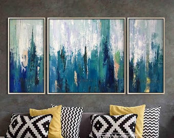 Abstract Painting 3 Pieces Large Wall Art Pictures Cuadros Abstractos On Canvas  Art Acrylic Paintings Blue Agate Original Painting Quadros