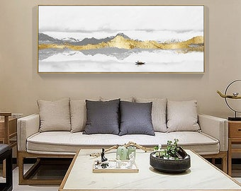 Exceptionnel Mountains Painting On Canvas Original Gold Leaf Art Abstract Acrylic Modern  Landscape Large Wall Art Pictures Dinning Room Caudros Decor