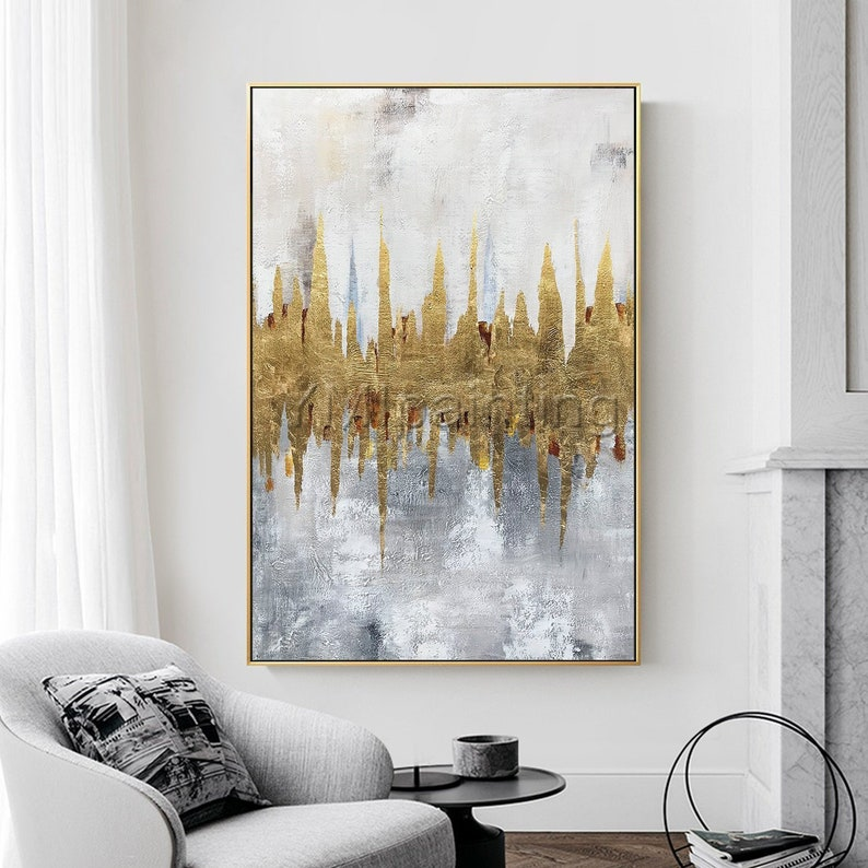 Gold Leaf Acrylic Paintings On Canvas Original Modern Abstract Framed Painting Extra Large Wall Art Paintings Home Decor Cuadros Abstractos