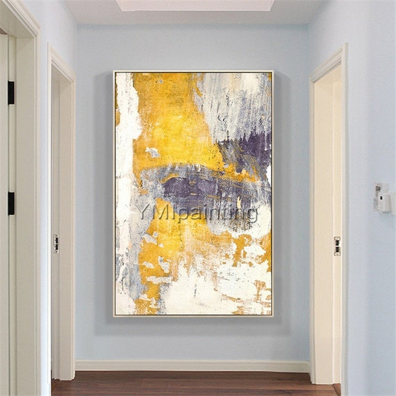 Modern Abstract Modern Art Yellow Acrylic Paintings On Canvas Original Extra Large Wall Art Framed Painting Wall Pictures Cuadros Abstractos