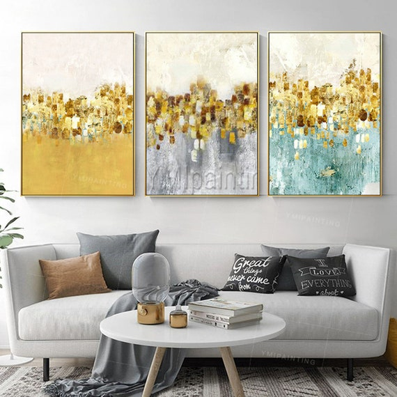 3 Pieces Framed Wall Art Gold Leaf Abstract Floral Paintings Etsy