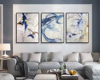 3 pieces Wall Art Abstract painting navy blue white acrylic paintings on canvas framed painting Original art extra Large Wall Pictures