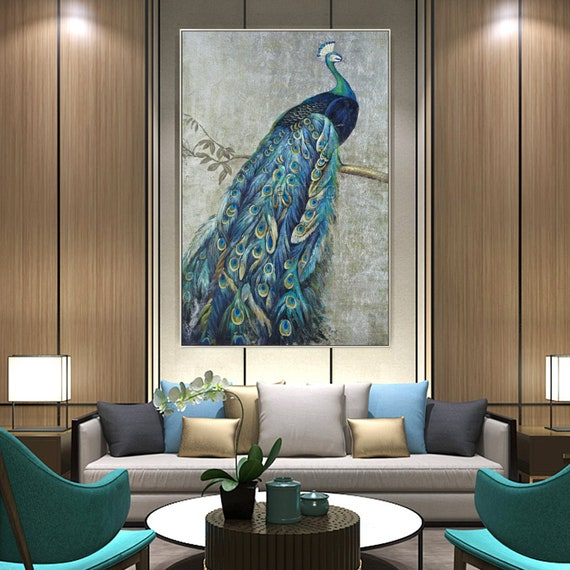 ART-PRINT-IMAGE-Animals-Blue-Peacock-on-Gold-Picture-Poster-Fine-art-on-Paper-or
