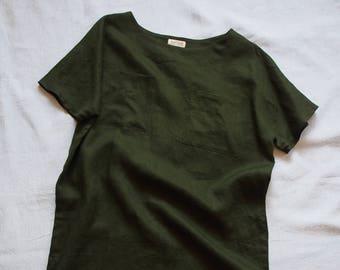 Women's shift dress in dark green linen, size S