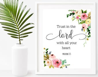 Trust In The Lord With All Your Heart, Proverbs 3:5,  Bible Quote Print,  Scripture Printable, Bible Verse, Wall Art, Instant Download