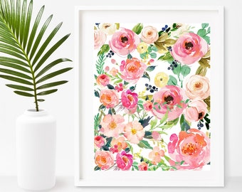 Watercolor flower Print, Flower Wall Art, Shabby Chic, Instant Download, Printable Art, Home Decor, Wall Decor