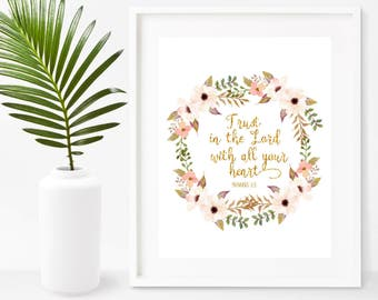 Trust In The Lord With All Your Heart, Bible Verse Print, Proverbs 3 5 , Scripture Prints , Printable Art,  Instant Download,  Wall Decor