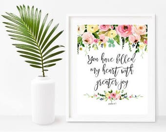 You Have Filled My Heart, Psalm 4 7, Bible Verse Print, Scripture Art, Christian Wall Art, Printable Art, Instant Download,  Wall Decor