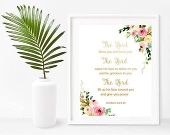 The Lord Bless You And Keep You, Scripture Printable, Bible Verse Print, Numbers 6:24-26, Printable Art, Instant Download, Wall Decor