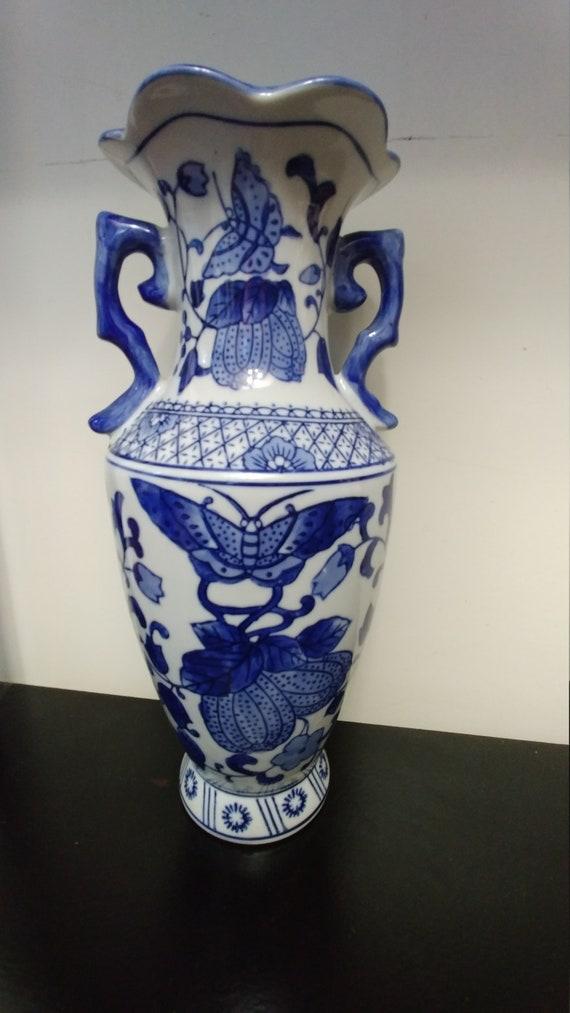 Beautiful Porcelain Vase With Handles Etsy