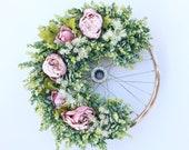 Vintage Pink Peony Wheel Wreath