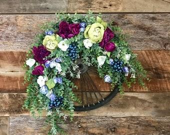Purple Carnations Wheel Wreath