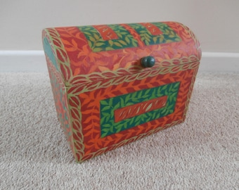 Hand Painted Wooden Storage Chest.