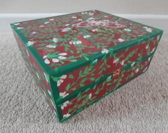 Hand Painted Wooden Storage Box.