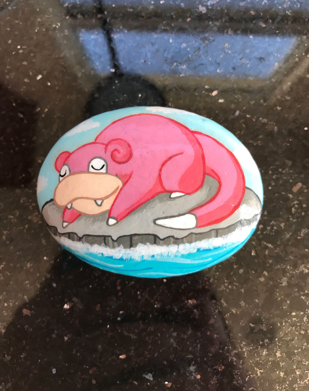 Pokemon Sleeping Slowpoke Hand Painted Stone Rock Art
