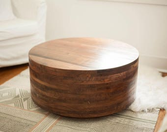 Walnut Coffee Table | Drum Table | Free Shipping | Living Room Furniture