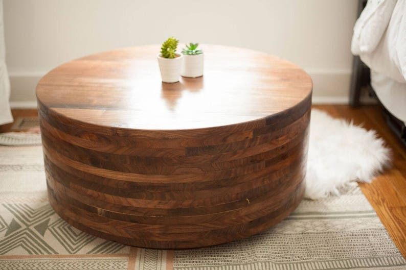 Walnut Coffee Table | Drum Table | Living Room Furniture