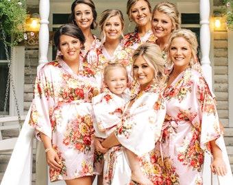 0f77ec1a43 Blush Bridesmaid Robes - Bridesmaid Gifts - Champagne Robe - Getting Ready  Robes - Bridal Party Gift - Kimono Robe - Bridesmaid Robes Set