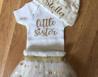 Baby Girl Outfit/ Little Sister onesie/ Tutu/ onesie/ hat/ customized