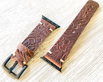 Apple watch band Series 1 2 3 4 5 6 SE, 42-44 mm, 38-40 mm, Leather watch band, Iwatch band, Apple watch leather band - Flower -Brown Color