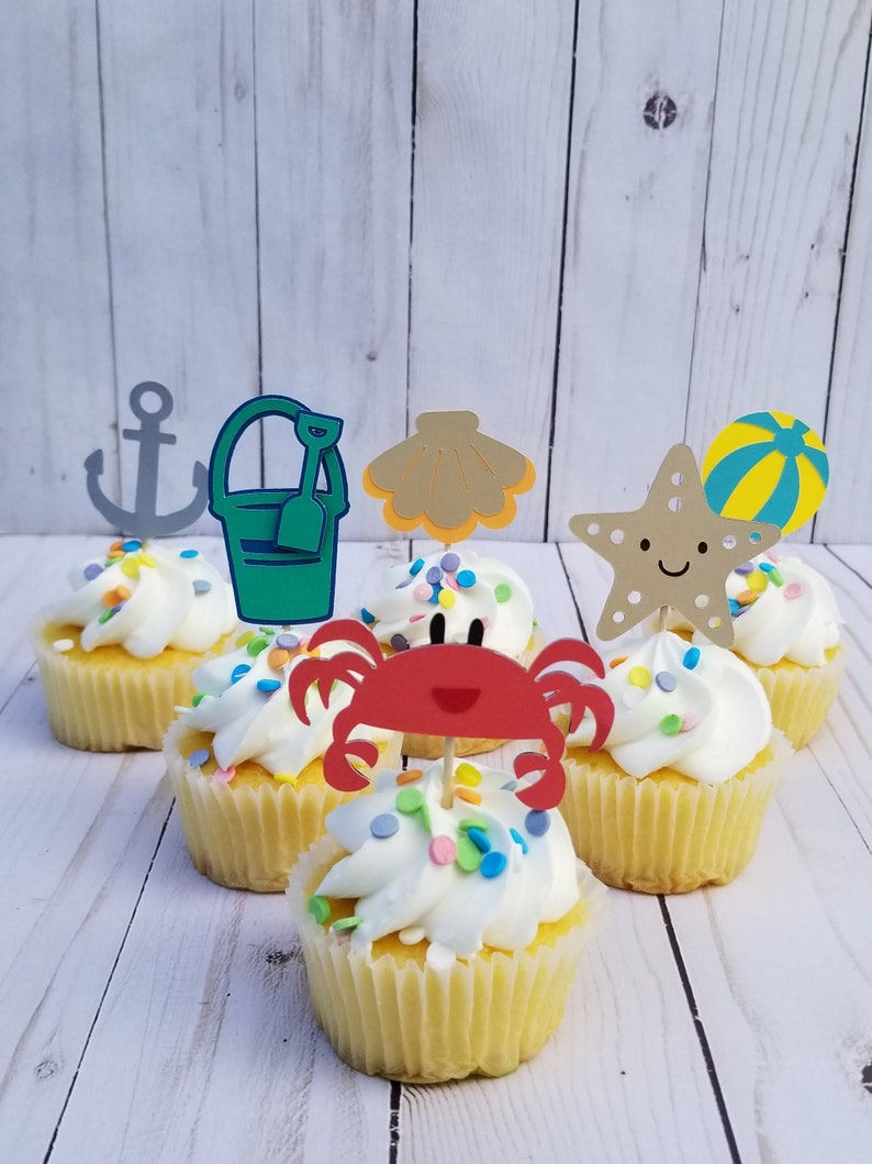 Beach Party Cupcake Toppers Birthday