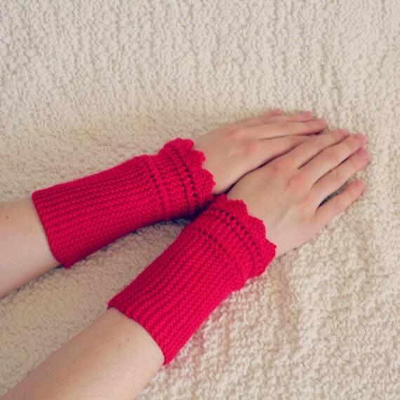 Knit Fingerless Mittens Womens Raspberry Red Gloves Hand -6721