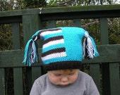 Striped baby beanie, baby hat, baby knit beanie, newborn knit hat, baby photo prop, blue brown baby knit hat, baby hat with pom pom, jester
