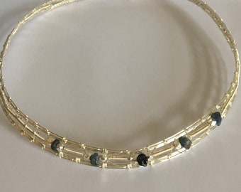 Hand Woven Torque Collar with Sapphire Gemstones