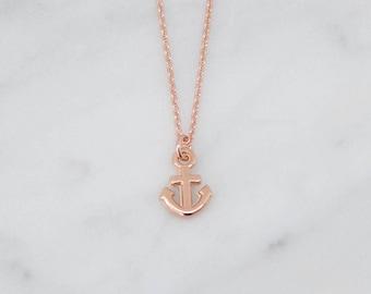 Chain Rosegold Anchor Maritim Mini