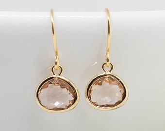 Earrings Gold-plated peach apricot pierced