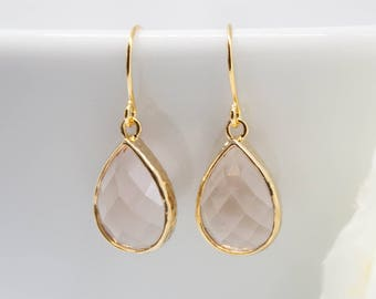 Earrings Gold-plated drops peach apricot