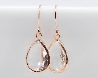 Earrings Rosegold Crystal Drops