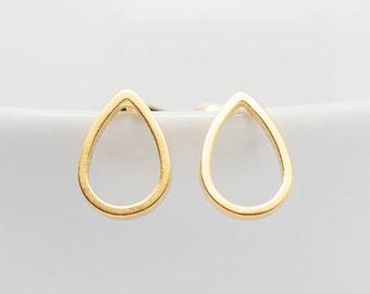 Earrings gold plated matte drop, stud earrings, drop, teardrop, minimalist