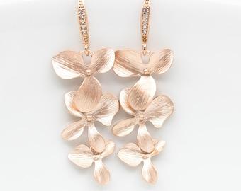 Earrings rosegold matt orchids flowers bridal jewelry