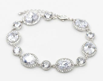 Bracelet silver plated cubic zirconia Wedding Jewelry