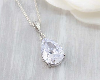 Necklace Silver Crystal drops prongs wedding Jewelry
