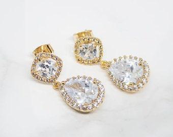 Earrings Gilded Wedding Jewelry Crystal