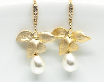 Gold plated earrings, orchid, flower, flowers, pearls, bridal jewelry, wedding jewelry