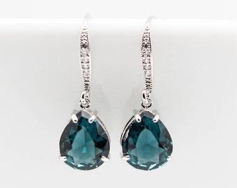 Earrings Silver blue dark blue Wedding Jewelry