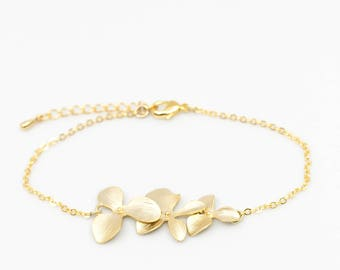 Bracelet gilded orchid flowers Wedding Bridal Jewelry