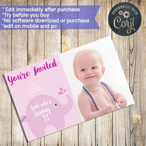 Baby Invitation 1st Birthday Girls