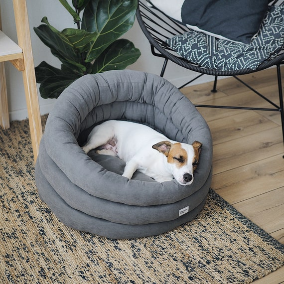 Stupendous Round Dog Bed Graphite Washable Pet House Handmade Dog Bed Scandinavian Home Decor Small Medium Large Bed For Dog Or Cat Squirreltailoven Fun Painted Chair Ideas Images Squirreltailovenorg