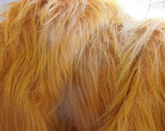 "Luxury Faux Fur Fabric 19"", Red Fox Faux Fur Craft, Long Pile Faux Fur Prop"
